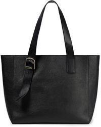 Ann Demeulemeester Buckle-detailed Pebbled-leather Tote - Black