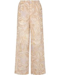 See By Chloé Tiger-print Silk-georgette Wide-leg Trousers - Natural