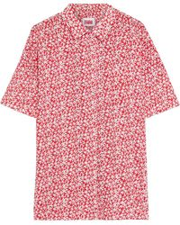 Solid & Striped Oversized Perforated Floral-print Cotton-broadcloth Shirt - Red
