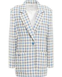 Sandro Blazer Aus Bouclé-tweed Aus Einer Baumwollmischung Mit Gingham-karo Und Metallic-effekt Größe 40 - Blue