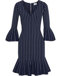 MILLY - Woman Fluted Pinstriped Stretch-knit Mini Dress Navy - Lyst