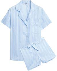 Bodas - Woman Striped Cotton-jacquard Pajama Set Light Blue Size S - Lyst