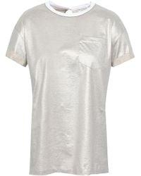 Brunello Cucinelli Embellished Cotton-lamé T-shirt Platinum - Multicolour