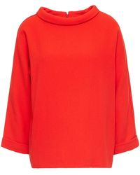 Goat Cosmo Wool-crepe Top Tomato Red