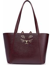 Charlotte Olympia - Feline Mini Metallic Printed Textured-leather Tote - Lyst