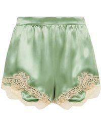 Dolce & Gabbana Shorts aus satin aus einer seidenmischung mit spitzenbesatz - Grün