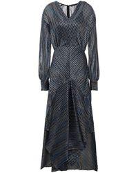 Maje Asymmetric Metallic Crochet-knit Midi Dress Multicolour