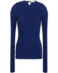 Carolina Herrera Ribbed-knit Top - Blue