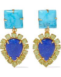 Bounkit Convertible 14-karat Gold-plated, Turquoise, Lapis Lazuli And Peridot Earrings Turquoise - Blue