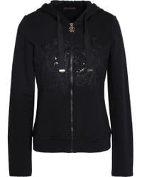 Roberto Cavalli - Embroidered Sequin-embellished Cotton-terry Hooded Sweatshirt - Lyst