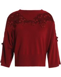 Chloé - Guipure Lace-trimmed Merino Wool And Cashmere-blend Sweater - Lyst