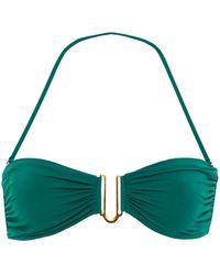 I.D Sarrieri Ruched Embellished Bandeau Bikini Top - Green