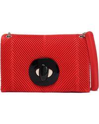 Giorgio Armani Ribbed Leather Shoulder Bag Red