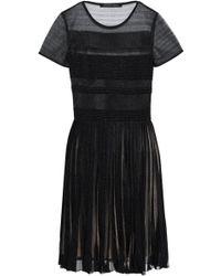 Antonino Valenti - Woman Pleated Knitted Mini Dress Black - Lyst d6218530e