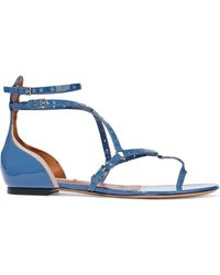Valentino - Woman Love Latch Eyelet-embellished Patent-leather Sandals Blue - Lyst