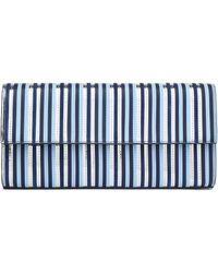 Diane von Furstenberg East/west Striped Leather Clutch - Blue