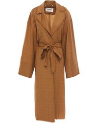 Zimmermann Frayed Checked Wool Trench Coat Camel - Natural