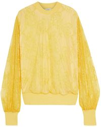 CLU Chantilly Lace And French Terry Sweatshirt - Yellow