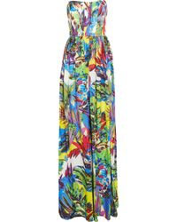 MILLY Printed Silk Maxi Dress - Green