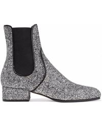 Jimmy Choo - Glittered Leather Ankle Boots - Lyst