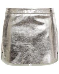 Michelle Mason Textured-leather Mini Skirt - Metallic