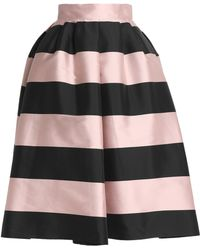 Rochas - Striped Duchesse Satin Midi Skirt - Lyst