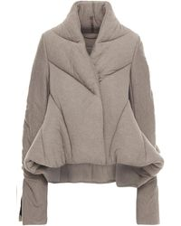 Rick Owens Lilies Quilted Knitted Jacket Taupe - Multicolour