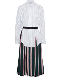 TOME - Woman Belted Paneled Striped Cotton-poplin Midi Shirt Dress White - Lyst
