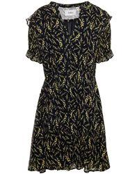 Ba&sh Gathered Floral-print Crepon Mini Dress - Black