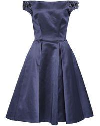 Zac Posen Off-the-shoulder Embellished Duchesse-satin Dress Indigo - Blue