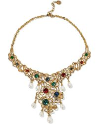 Ben-Amun - 24-karat Gold-plated, Swarovski Crystal And Faux Pearl Necklace - Lyst