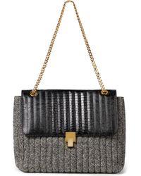 Victoria Beckham Quinten Lizard-effect Leather And Tweed Shoulder Bag - Black