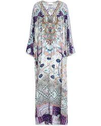 Camilla Cold-shoulder Crystal-embellished Printed Silk Crepe De Chine Kaftan Lilac - Purple