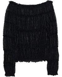 Missoni Off-the-shoulder Shirred Metallic Crochet-knit Jumper - Black