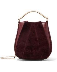 Eddie Borgo - Pepper Pochette Mini Velvet And Leather Bucket Bag - Lyst