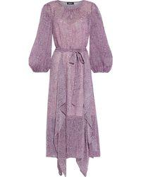 DKNY Belted Ruffled Printed Georgette Midi Dress - Pink