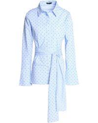 Raoul - Tie-front Embroidered Gingham Cotton-poplin Shirt - Lyst