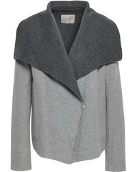 SOIA & KYO Brushed Wool-blend Felt Coat Grey - Gray