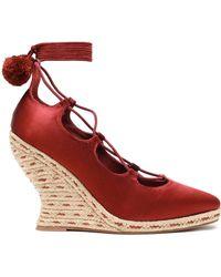 Tory Burch Pompom-embellished Lace-up Satin Wedge Espadrilles Merlot - Red