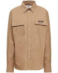 MSGM Printed Cotton-poplin Shirt - Multicolour