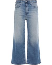 AG Jeans Cropped High-rise Wide-leg Jeans Mid Denim - Blue