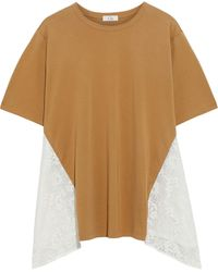 CLU Corded Lace-paneled Cotton-jersey T-shirt - Natural