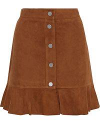 Ganni Salvia Suede Skirt - Brown