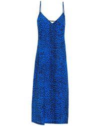 Être Cécile Être Cécile Leopard-print Silk-crepe Midi Slip Dress Cobalt Blue