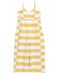 Mara Hoffman Pleated Striped Cotton-canvas Jumpsuit Yellow
