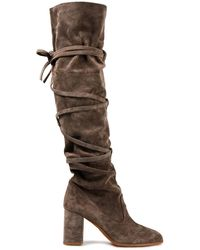 Zimmermann Lace-up Suede Knee Boots Taupe - Brown