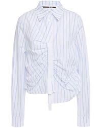 McQ Asymmetric Ruched Striped Cotton-poplin Shirt White