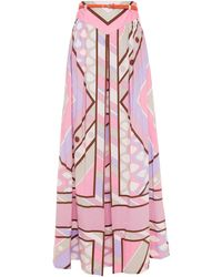 Emilio Pucci Belted Printed Cotton-blend Poplin Maxi Skirt Baby Pink