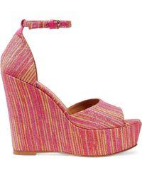 M Missoni - Metallic Jacquard Wedge Sandals Bright Pink - Lyst