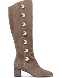 Chloé Chloé Orlando Button-embellished Suede Knee Boots Mushroom - Brown